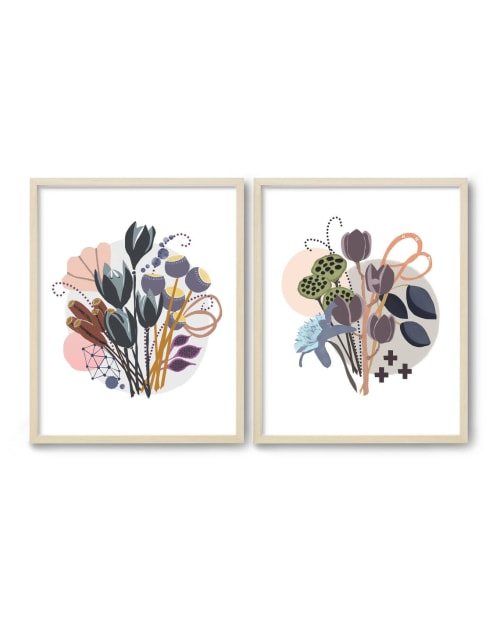 Paintings by Birdsong Prints seen at Creator's Studio, Denver - Mid Century Floral Painting, Set of 2