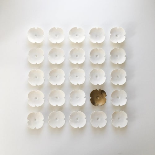 Art & Wall Decor by Elizabeth Prince Ceramics seen at Creator's Studio, Manchester - Set Of 25 Ceramic Flowers White & Gold