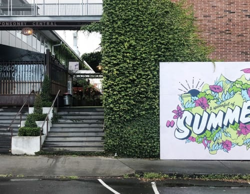 Murals by James Showler seen at Ponsonby Central, Auckland - Summer