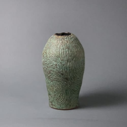 """Tableware by Crazy Green Studios seen at The Village Potters Clay Center, Asheville - """"Vincent"""" Series Carved Vessels"""