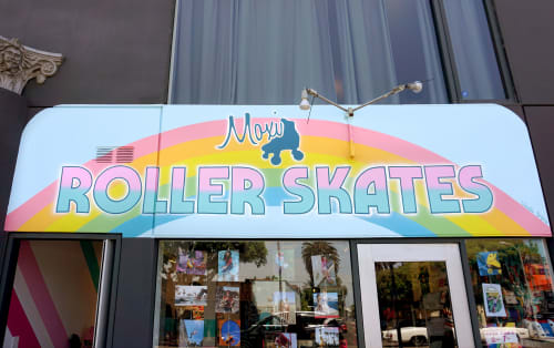 Signage by Celeste Byers seen at Moxi Roller Skate Shop, Los Angeles - Moxi Skate Shop