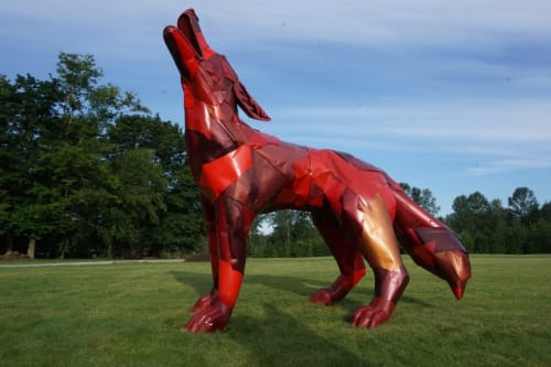 """Sculptures by Don Kennell seen at Private Residence, Bellingham - """"""""Howl"""" and """"Pounce"""""""