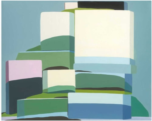 Paintings by Louise Belcourt seen at New York, New York - Mountains + Lakes + Buildings + Life II