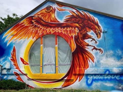 Murals by Grow Love (Robyn Frances) seen at Mountain Phoenix Community School, Wheat Ridge - Phoenix Mural