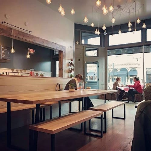 Chandeliers by Hangout Lighting seen at Sure House Coffee Roasting Co., Wooster - Swag Chandelier