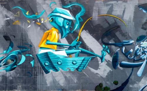 Murals by Luispak seen at Stadio Luigi Pastena, Battipaglia - the fhiserman of wind
