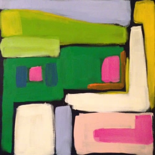 """Paintings by Leslie Milsten seen at Private Residence - """"Making it Work (navy ground)"""""""