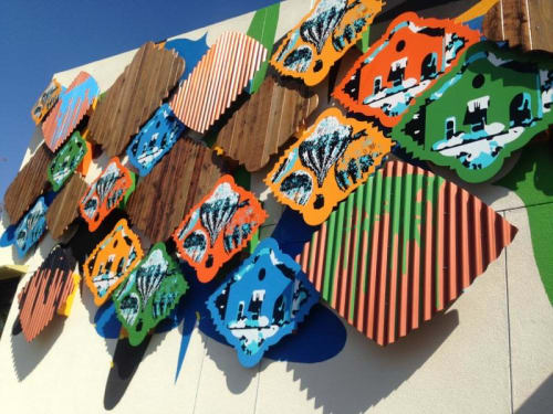 Murals by Fausto Fernandez seen at East Rancho Dominguez Park, Compton - Dominguez Field and The Famous Titans of Aviation