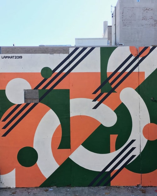 Street Murals by LAMKAT seen at Madison Avenue & East 125th Street, New York - Geometric Mural