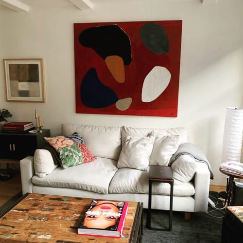 Paintings by sandi gehring seen at Private Residence, Amsterdam - collage abstraction