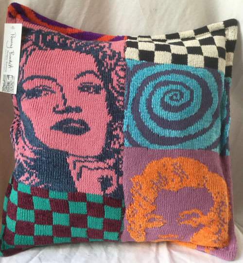Pillows by Penny Burdett Designer Knitwear seen at Camden Market, London - Pop ArtKnit Pillow
