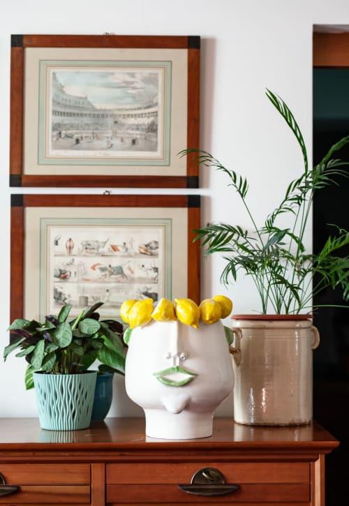 Sculptures by Patrizia Italiano seen at Private Residence, Milan - Domitilla head lemon picker