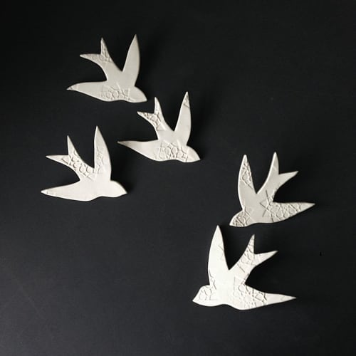 Art & Wall Decor by Elizabeth Prince Ceramics seen at Creator's Studio, Manchester - Swallows Over Morocco White Porcelain Bird - Set of 5