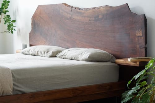 Beds & Accessories by Ordinal Indicator seen at Private Residence, Brooklyn - Walnut Slab Bed