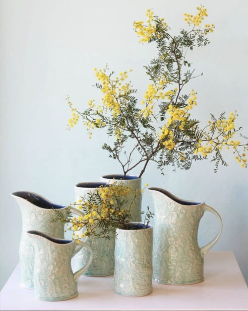 Tableware by DM Pottery seen at Chinaclay, Clovelly - Vases and pitchers from The Flannel Flower Range