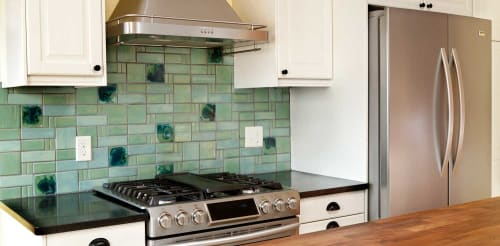 Tiles by Clay Squared to Infinity seen at Private Residence, Saint Paul - Aquila Tile Pattern Backsplash