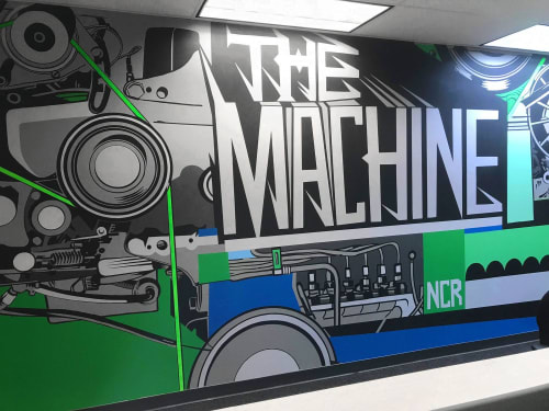 Murals by John Tindel seen at Ncr, Alpharetta - The Machine