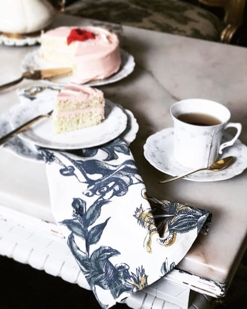 Tableware by Mezari Atelier & Boutique seen at Private Residence, Montreal - Snip Floral Napkin in White - Limited Edition
