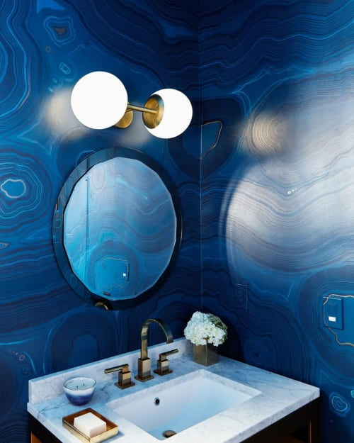 Wall Treatments by Caroline Lizarraga seen at Private Residence, Kentfield - Blue Stone Wall
