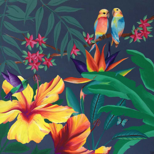 """Paintings by Louise Dean - Artist seen at Private Residence, Royal Tunbridge Wells - """"Pina Colada"""" and """"Tobago"""" paintings"""