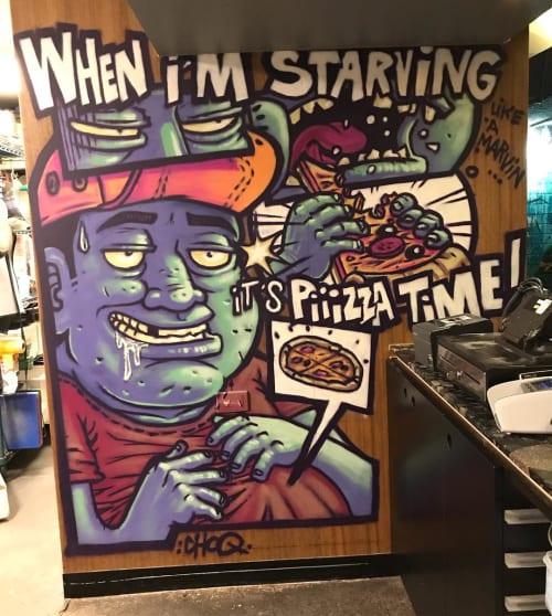 Murals by Choq seen at SPQR Pizzeria, Melbourne - Indoor Mural