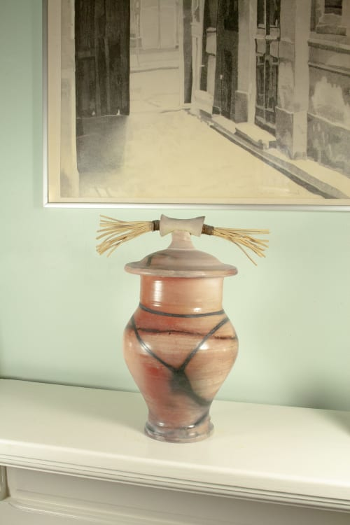 Art & Wall Decor by Paul Stewart seen at Private Residence, Toronto - Sagger fired vessel-urn with cane accents