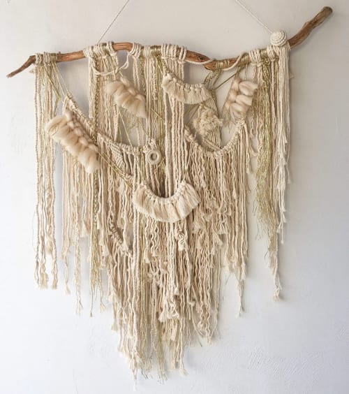 Macrame Wall Hanging by Damla seen at Private Residence, Istanbul - Boho Macrame Wall Hanging - Gold and Beige