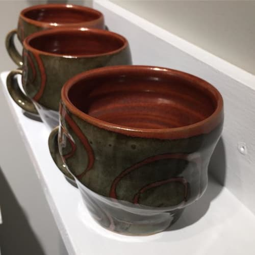 Cups by Crazy Green Studios seen at The Village Potters Clay Center, Asheville - Swirl Cups