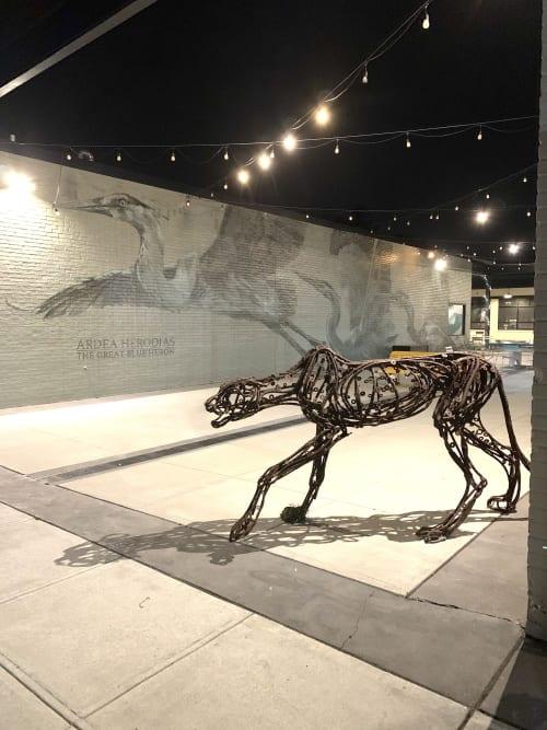 Public Sculptures by Wendy Klemperer Art Inc seen at The Market at Pound Ridge Square, Pound Ridge - Stalking Cheetah