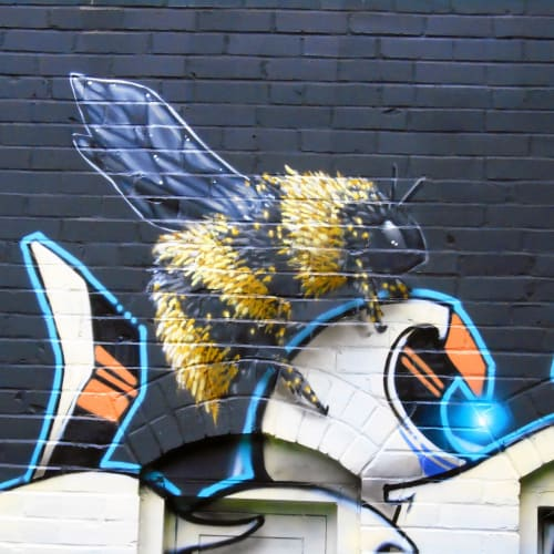 Street Murals by Jared Goulette | The Color Wizard seen at Pleasant Street, Portland - The Bakery Studios Mural Garden Creatures  - exterior Murals