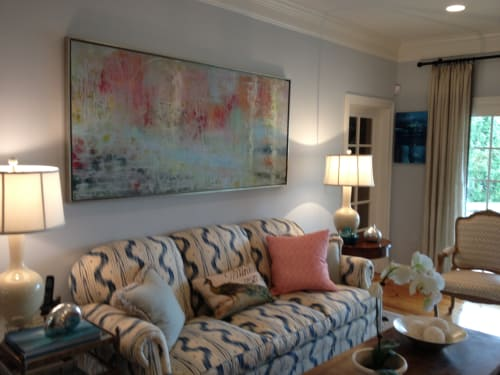 Paintings by Andrea Bonfils at Private Residence, Miami Beach - Encaustic and oil paintings, mixed media and photography