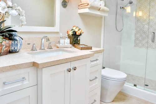 Furniture by CC Furniture & Cabinetry seen at Private Residence, Newport Beach - Crissman Residence- Bathroom Cabinetry