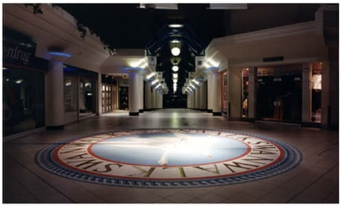 Public Mosaics by Paul Siggins - The Mosaic Studio seen at Swan Walk, Horsham - Swan Walk Circular Mosaic Floor Inlay