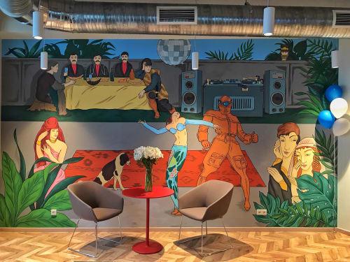 Paintings by Musya Qeburia seen at Georgia, Tbilisi - Booking.com office Tbilisi
