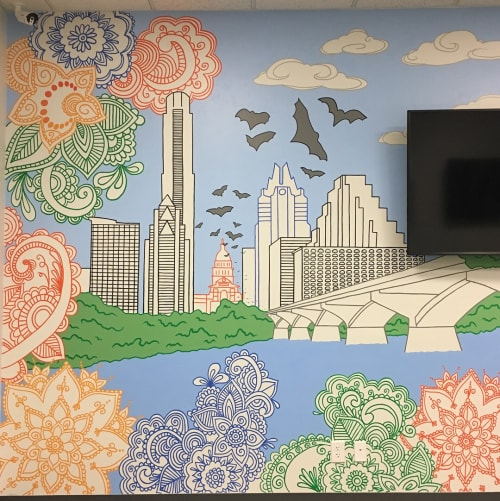 Murals by Avery Orendorf at Cobra Legal Solutions LLC, Austin - From Austin to Chennai