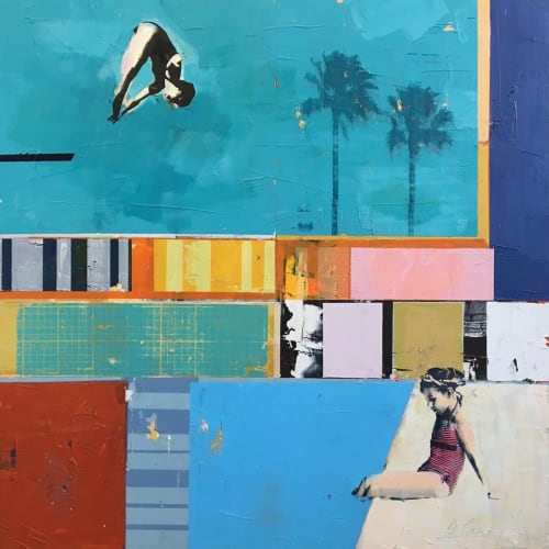 Paintings by Dan Parry-Jones seen at Private Residence, Bristol - Girl on the Poolside Painting