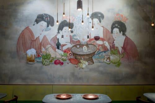 Murals by Xu Han seen at Tang Hotpot, New York - Tang Court Women