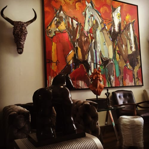 Wall Hangings by BANEGAS ART seen at Private Residence, Surfside - War Horses