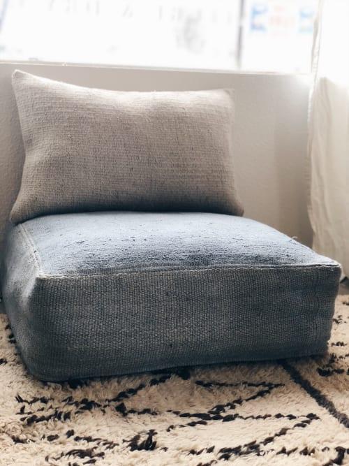 Furniture by Wayfarer seen at Private Residence, Topanga - Vintage Hemp Floor Pouf