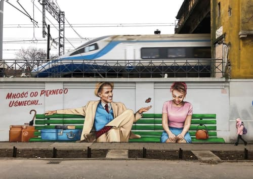 """Street Murals by Marek Looney Rybowski seen at Wrzeszcz, Gdańsk - Mural (""""love from a beautiful smile"""")"""