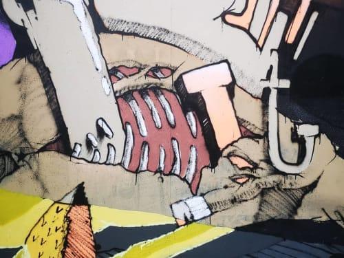 Street Murals by _Myself and i_ seen at Leeuwarden, Leeuwarden - Pulling a dead horse