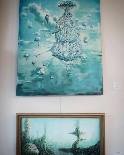 Paintings by Sokara Young seen at Street Bean Coffee Roasters, Seattle - Balloon Scenario