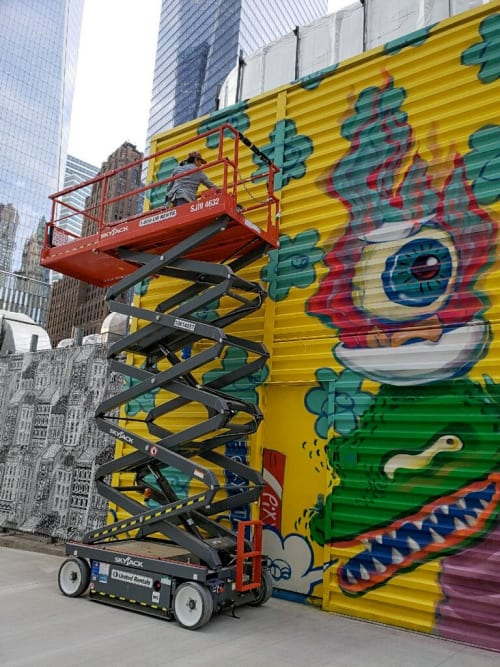 Street Murals by BoogieREZ seen at World Trade Center, New York - Do What Makes You Happy