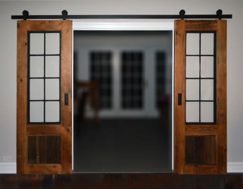 Hardware by Abodeacious seen at Private Residence, Skokie - rustic wood sliding doors