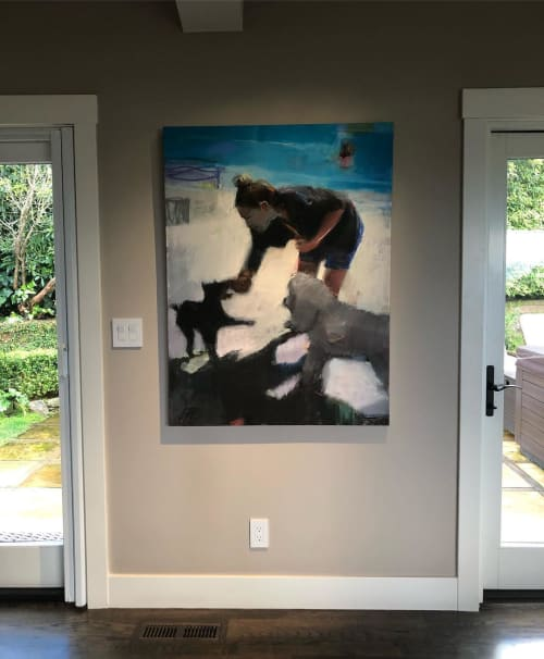 Paintings by Sharon Paster seen at Private Residence, Belvedere - Me and Zeta and Mazie Oil Painting
