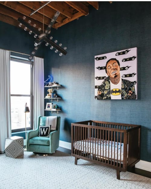 Paintings by Ashley Longshore seen at Private Residence, Chicago - Lil Wayne Batman
