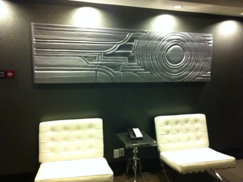 Sculptures by Justin Queal seen at Hotel Deco, Omaha - Wooden Relief Sculptures