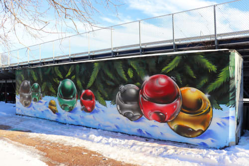 Street Murals by Jared Goulette | The Color Wizard seen at Portland Fitzpatrick Stadium, Portland - Holiday Orbs Mural