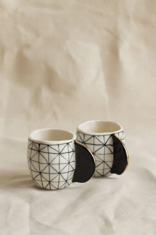 Cups by Cóte García Ceramics - Porcelain Espresso Cups Black & White