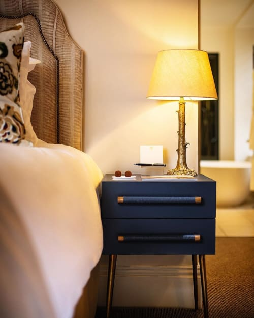 Tables by Chelsea Textiles seen at Linthwaite House, Bowness-on-Windermere - Mid Century Modern Bedside Table